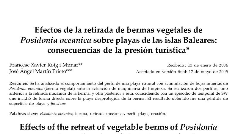 Efectos de la retirada de bermas vegetales de Posidonia oceanica